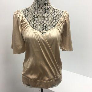 Gold Silk Dolman Crossover Top